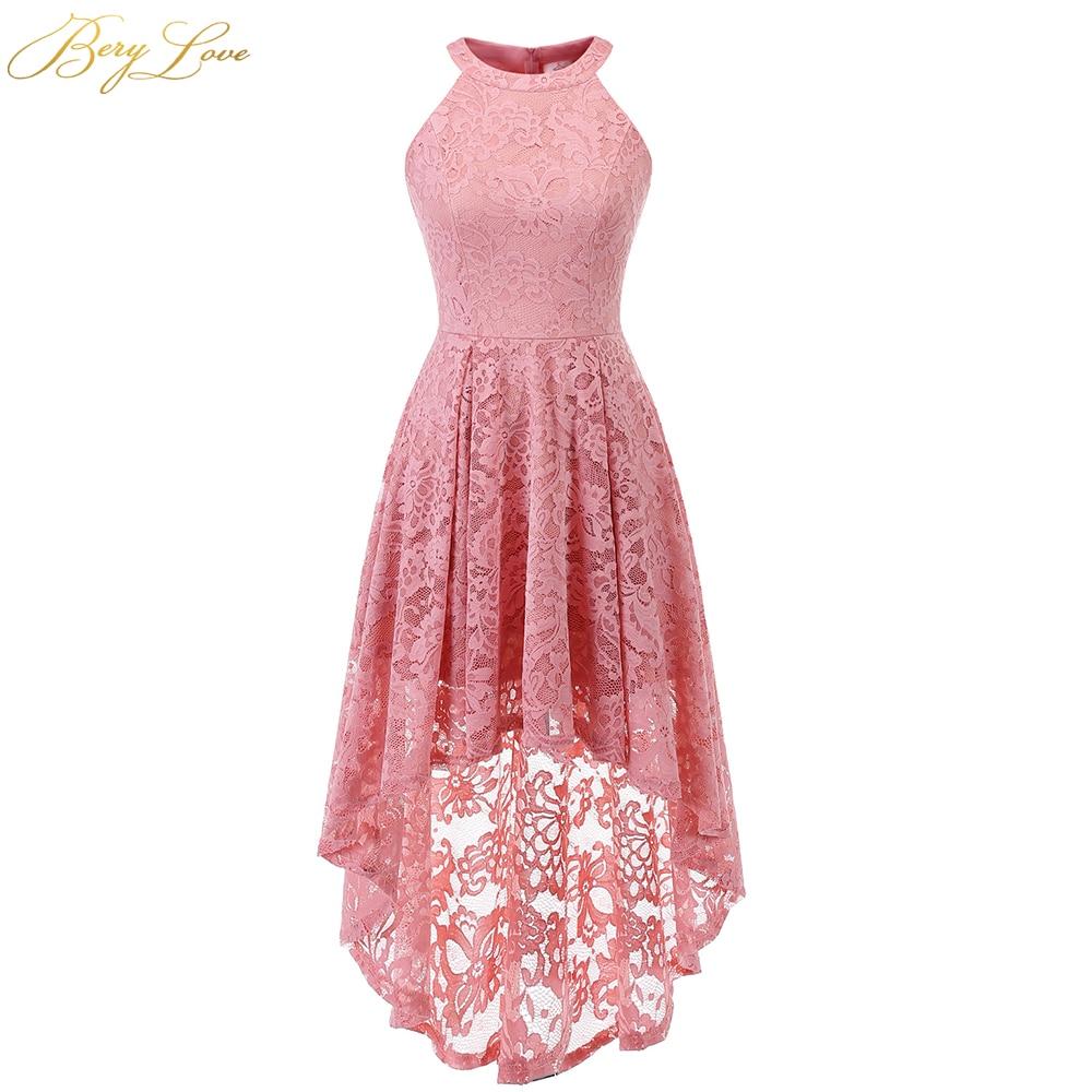 BeryLove Blush Short Homecoming Dress 2020 Lace Mini Length Halter Neckline Girl Cute High-Low Party Graduation Gown Zipper Up