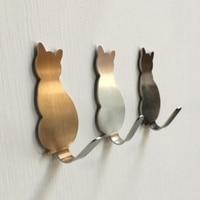 2 teile/los Kreative Katze form Haken Wand Montieren Hause Edelstahl Tür Kleiderbügel Katze schlüssel Dekorative Lagerung Rack-in Haken & Leisten aus Heim und Garten bei