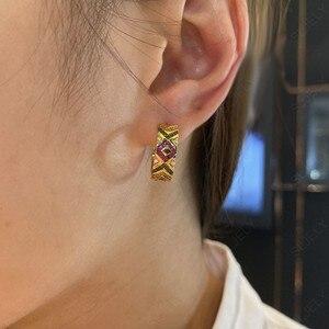 Image 5 - SLJELY Solid 925 Sterling Silver Yellow Gold Color Multicolor Zirconia Ceometric Pattern Tribel Hoop Earrings Women Mana Jewelry