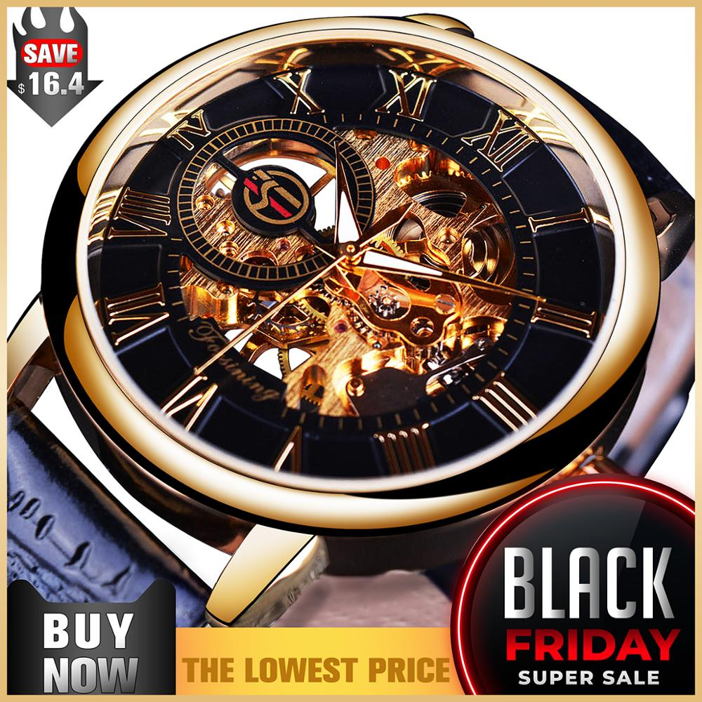 Forsining 3d Logo Design Hollow Engraving Black Gold Case Leather Skeleton Mechanical Watches Men Luxury Brand Heren Horloge-in Mechanical Watches from Watches on AliExpress