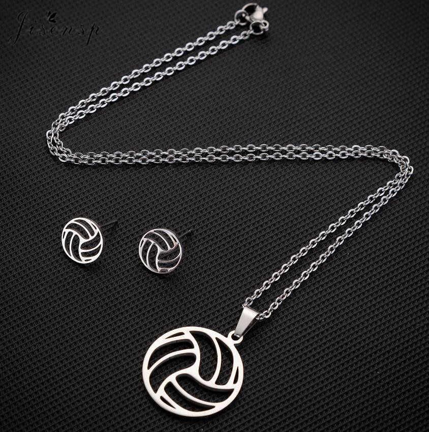 Jisensp conjuntos de joyas de acero inoxidable geométricos redondos de voleibol colgante collar pendientes de joyería de moda para mujer regalo de fiesta