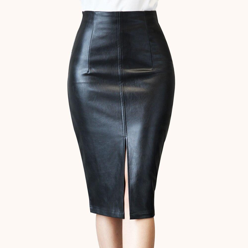 Women PU Leather Pencil Skirt Fashion Knee Length Midi Bodycon Skirts Plus Size AIC88