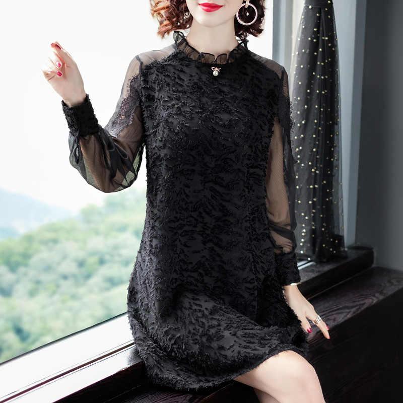 Neue Elegante Frauen Lange Armeln Schwarz Kleid Spitze Patchwork Reifen Charme Fruhjahr Und Herbst Frauen Kleidung Kleider Aliexpress