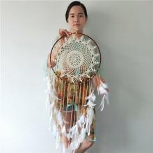 Coletor de sonho feito à mão de algodão, bege, decoração de casa, artesanato, 40cm, círculo redondo, branco, de pena