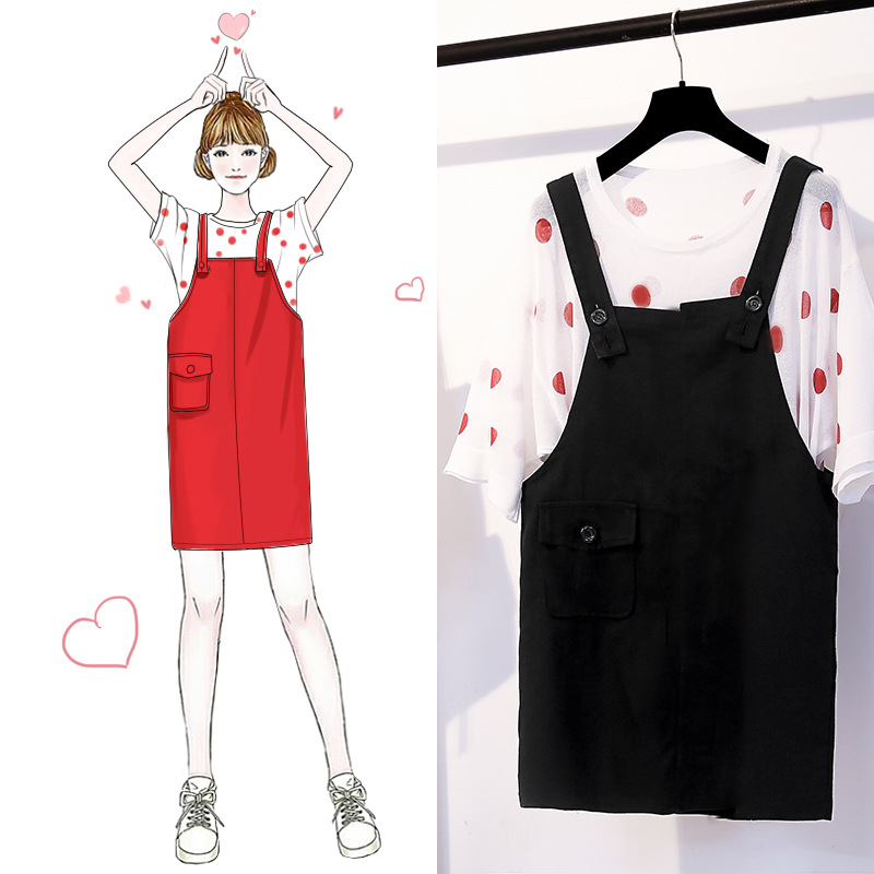 Fat Mm Large Size Dress 2019 Summer New Style Loose-Fit Slimming Polka Dot Tops Versatile Suspender Skirt Belly Covering Two-Pie