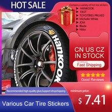 Letras de borracha pneu etiqueta da roda do pneu carro adesivo 3d logotipo personalizado decalque etiqueta da roda estilo do carro para a motocicleta quente