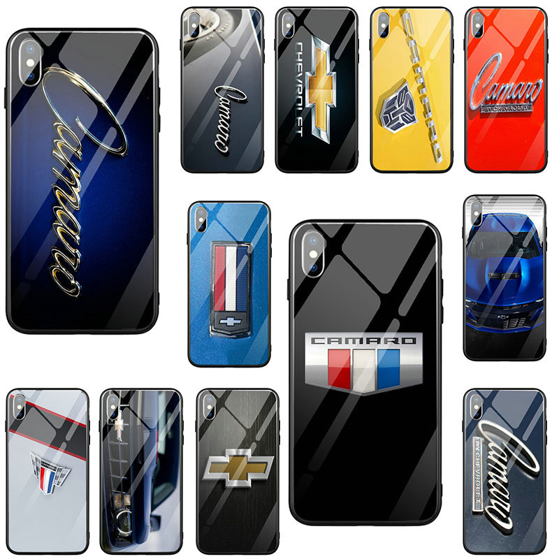 Tempered Glass Mobile Phone Cases Cover for iPhone X XR XS 11 Pro Max 7 6 6s 8 Plus Bags Chevrolet Camaro Car Logo image