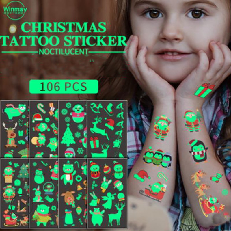 106 pcs Christmas Glowing Tattoo Sticker Waterproof Khan Children Cartoon Snowflake Face Decoration Gift Cross-border Special.