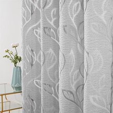 Tulle Curtains for Living Room Sheer Curtains for the Bedroom Home Decoration Curtain Drapes Window Privacy Curtain Grey Leaves