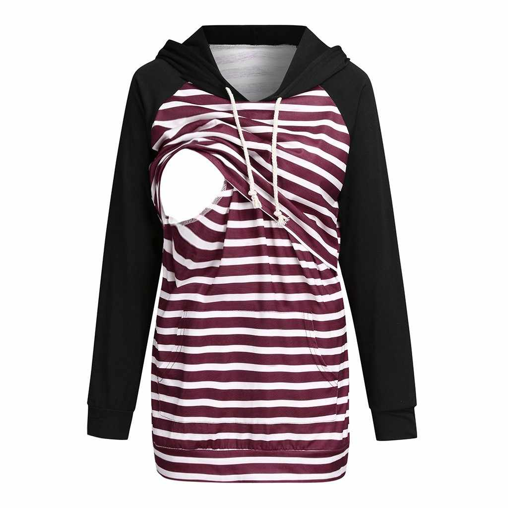 Maternity Top Clothes Womens Nursing Large Size Plaid for Breastfeeding Hoodie Pullover Sweatshirts