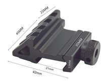 45 graus de ângulo tático escopo montagem alumínio 4 slot trilho lateral rts vista airsoft 45mm 20mm adaptador base pistola