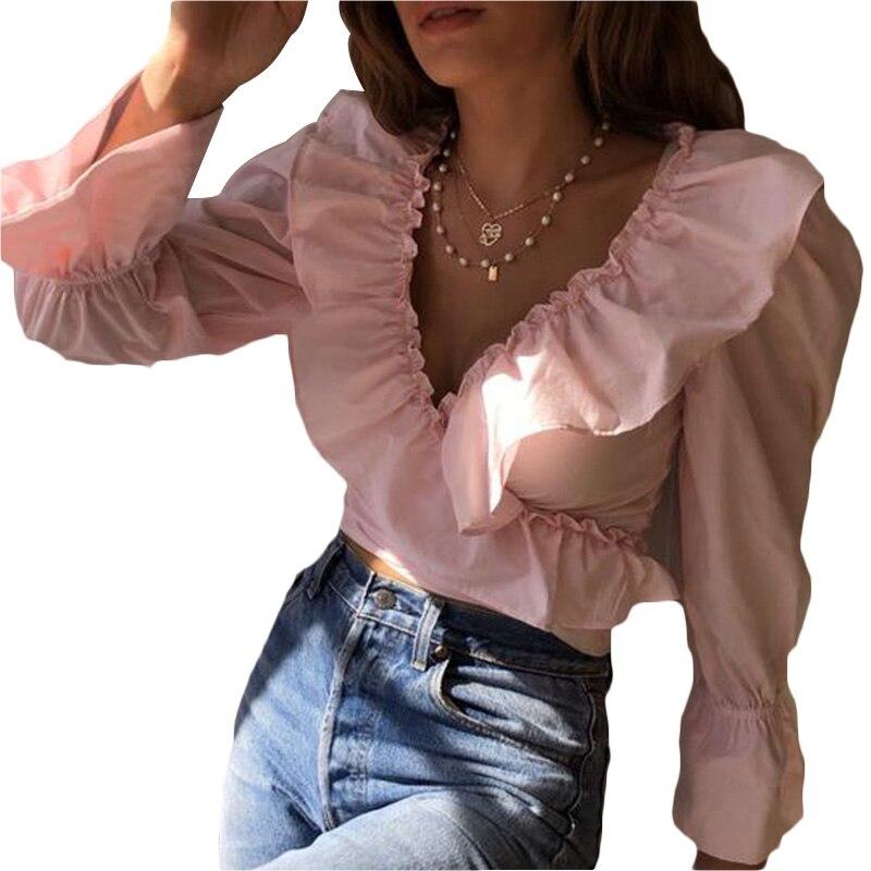 Solid Deep V Ruffle Women Blouse Top Mujer Long Sleeve Bluzka Damska Haut Femme