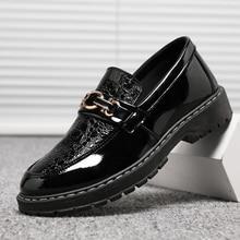 Patent Leather Black Harajuku Shoes Men Slip On Male Platform Shoe 2#15/15D50