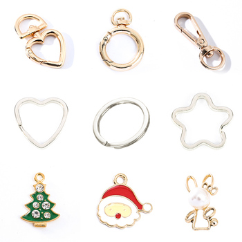 Christmas DIY Metal Keychain For Matching Jewelry Accessories Hook Car Key Animals Creative 2019 New Designer Handmade Key Ring mix wings key chain charms for diy handmade gifts keychain flying wing jewelry