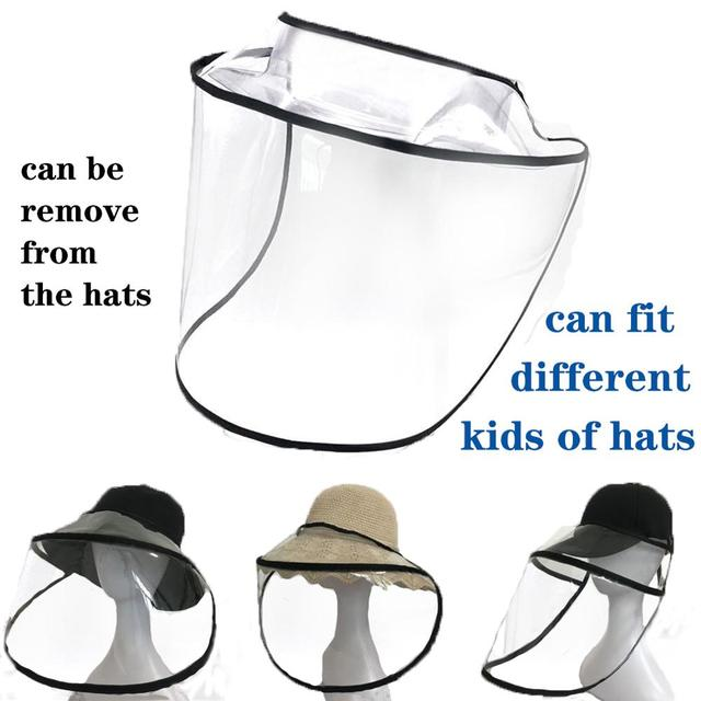 Dual-use Sun Hat Protective Face Shield Cover Hat Anti Spitting Saliva Drool Baseball Cap With Detachable Clear Facial Mask 3
