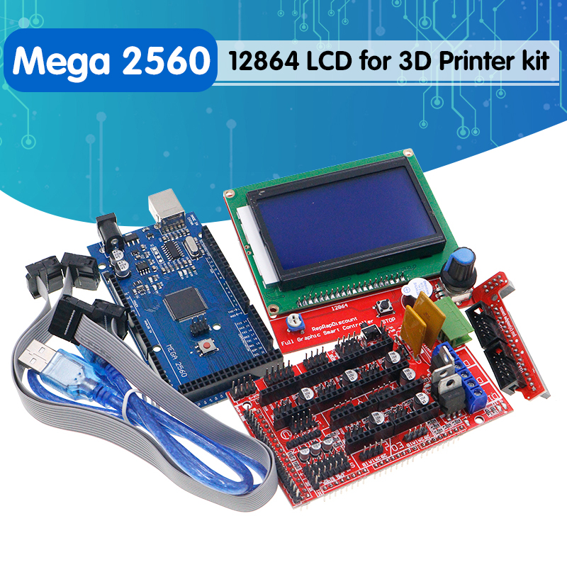 Mega 2560 R3 Mega2560 REV3   1pcs RAMPS 1 4 Controller  RAMPS1 4 LCD 12864 LCD for 3D Printer   kit Reprap MendelPrusa