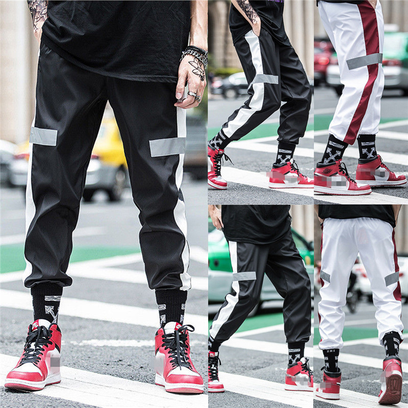 2020 Men Gym Sports Pants Reflective Joggers Trouser Hip Hop Sweatpants Trousers Casual Outwear Male Pants Streetwear