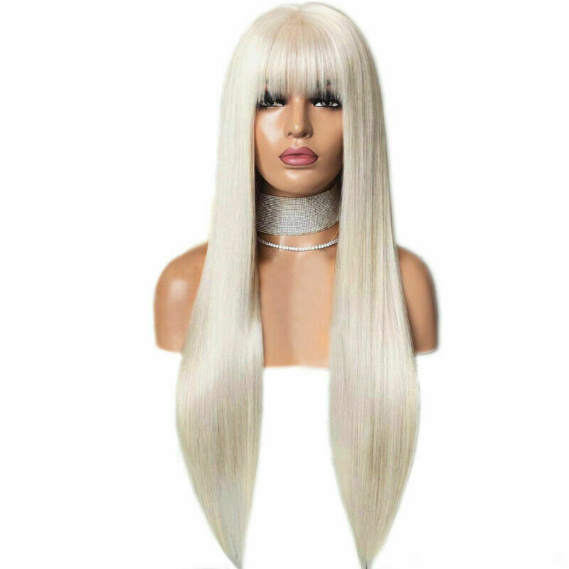 RONGDUOYI Platinum Blonde Long Straight Hair Wig Synthetic Lace Front Wigs for Women With Bangs Cosplay Heat Resistant Fiber