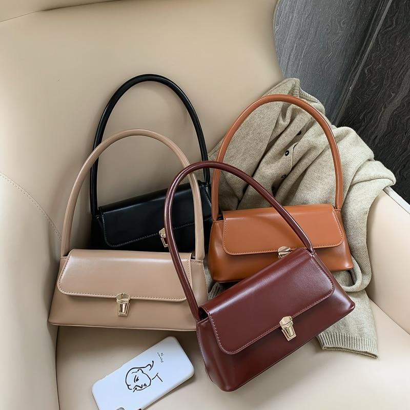 Solid Color PU Leather Handbags For Women 2019 Shoulder Bag Female Small Elegant Totes Lady Handbag Luxury Hand Bag