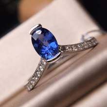 Fine Jewelry Sapphire Rings Natural 1.01ct Blue Sapphire Gemstone Pure 18 K Gold Jewelry For Women Diamonds Rings(China)
