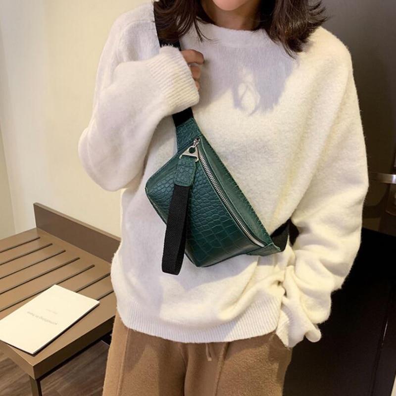 Alligator Leather Waist Bag Female Belt Fashion Waterproof Chest Handbag Unisex Fanny Pack Ladies Waist Pack Belly Bags Purse