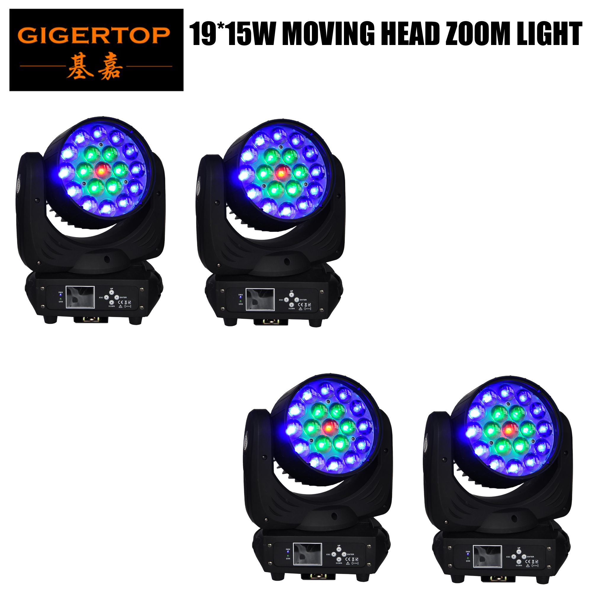 TIPTOP Stage Light 19 X 15W RGBW 4IN1 Color Zoom Led Moving Head Light LED Display Color Ring Individual Control Beam Wash 2IN1