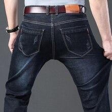 קלאסי גברים של ג ינס 2020 חדש עסקי אופנה למתוח ג ינס מכנסיים זכר שחור כחול מותג מכנסיים