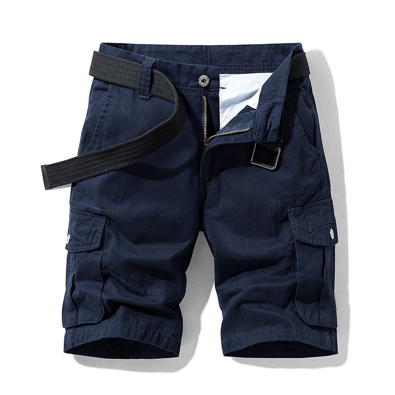 2020 Summer Men's Baggy Multi Pocket Military Cargo Shorts Male Cotton Navy Mens Tactical Shorts Short Pants 30-38 No Belt