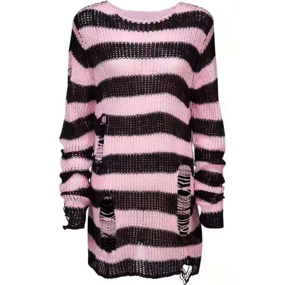 Women Sweater Gothic Knitted Sweater Women Long Pullovers Striped Loose Winter Ripped Plus Size Sweaters Jumpers Mujer Jersey