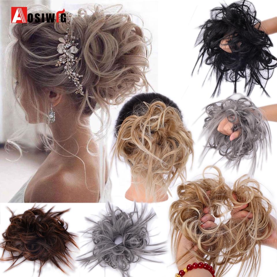 AOSIWIG синтетические спутанные волосы пучок эластичный пончик шиньон охватывающий конский хвост шиньоны удлинение волос для женщин