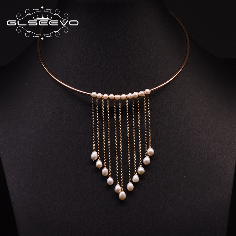 GLSEEVO Handmade Natural Fresh Water Pearl Tassel Choker Necklace For Women Wedding Engagement Gothic Necklace Jewelry GN0183