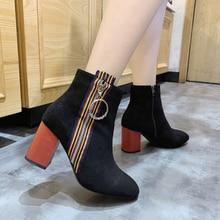 Women Winter Flock Short Plush Block Square High Heels Zipper Warm Ankle Boots Snow Boots Round Toe Patchwork Black Female Shoes цена 2017