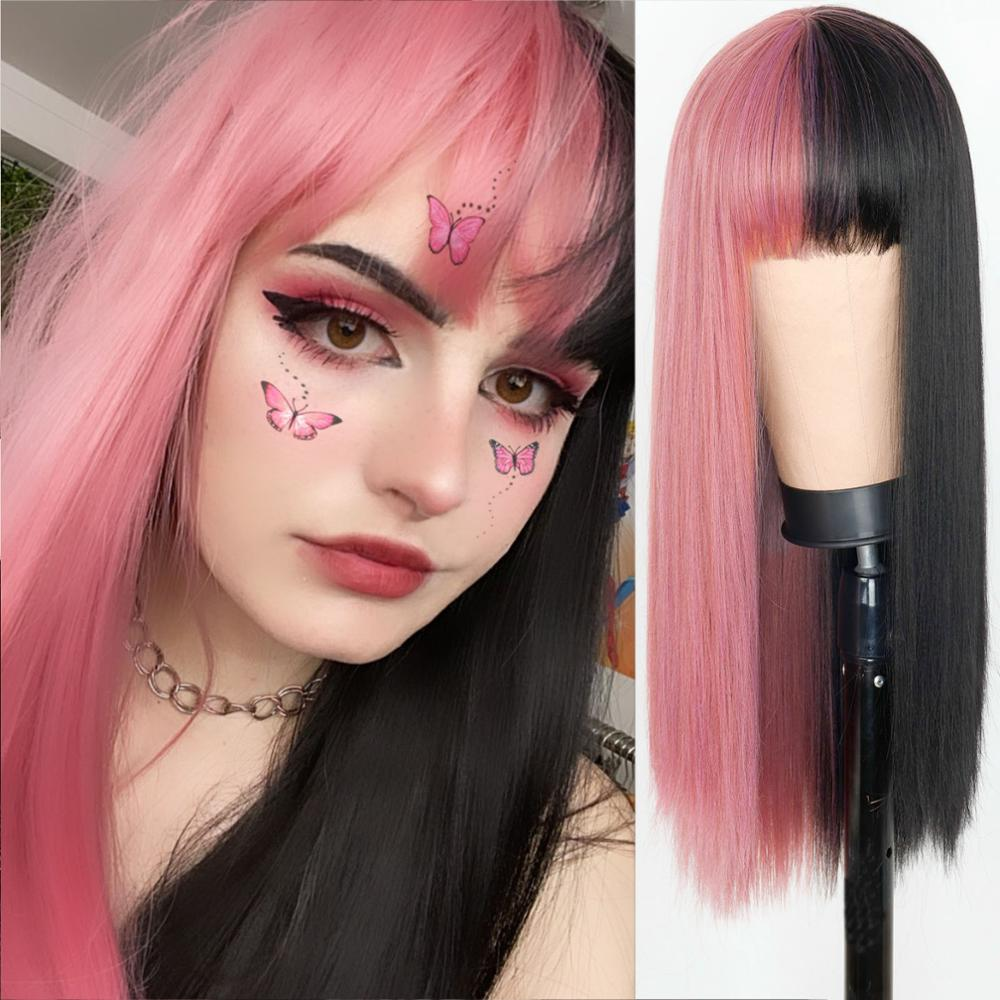 Lolita metade preto metade rosa peruca para preto feminino africano americano sintético rosa perucas de cabelo com franja resistente ao calor cosplay perucas