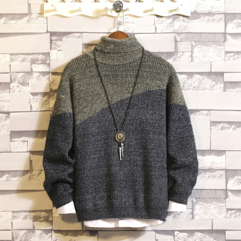 Winter Thick Turtleneck Sweater Men Warm Fashion Contrast Color Casual Knitted Pullover Man Wild Loose Long Sleeve Sweater Male