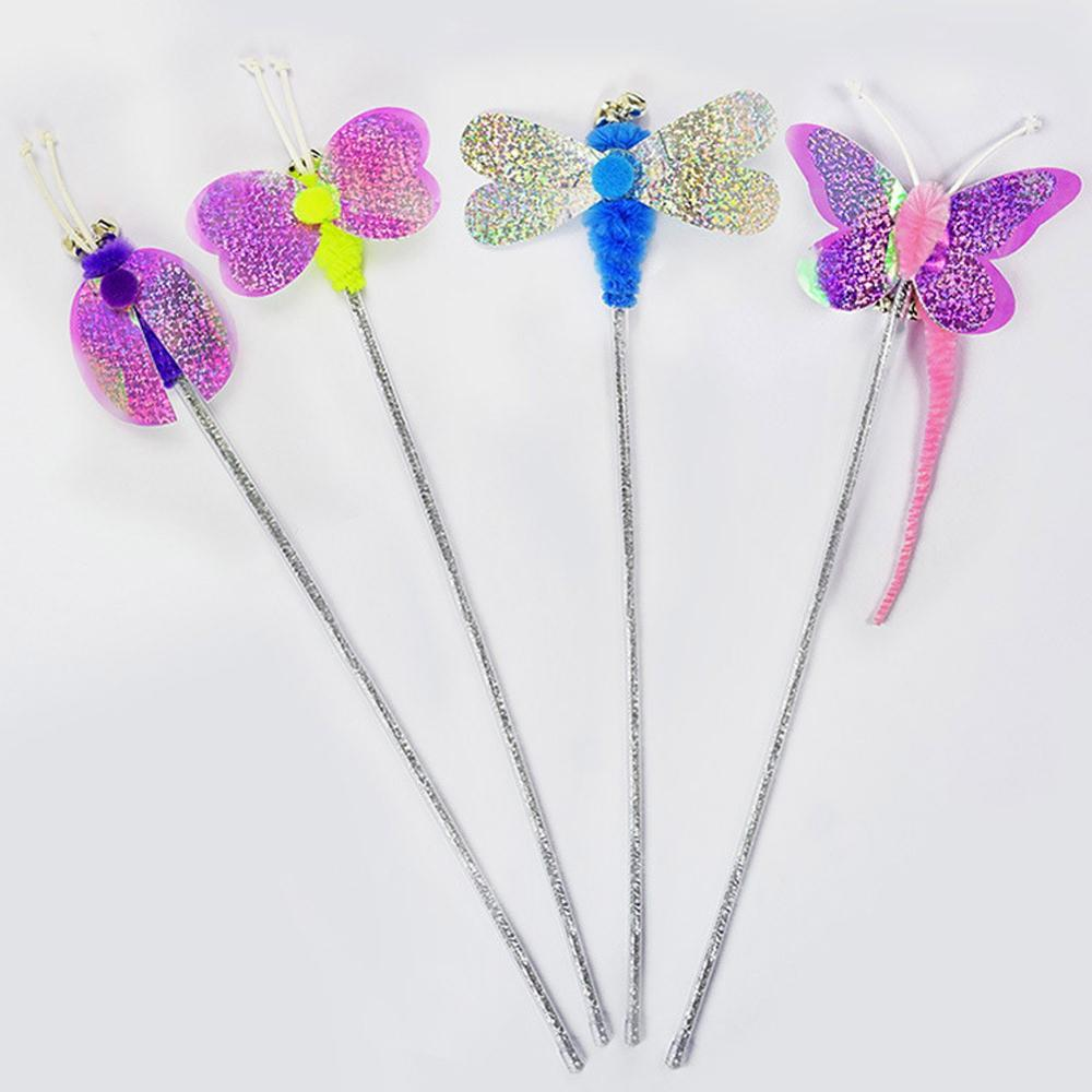 1Pc Cat Supplies Soft Colorful Cat Feather Worm Butterfly Rod Toy For Cat Kitten Funny Playing Interactive Toy Pet Cat Toys