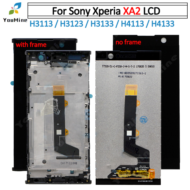 For Sony Xperia XA 2 LCD DIsplay With Touch Screen Digitizer Assembly+ frame For sony xa2 LCD H3113 H3123 H3133 H4113 H4133 LCD
