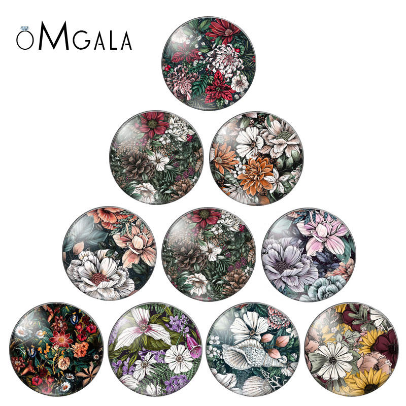 Photo Glass Findings Flowers Cabochon Flat-Back-Making Vintage Round 10pcs Demo White