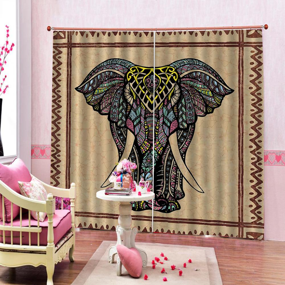 brown curtains elephant Luxury Blackout 3D Window Curtains For Living Room Bedroom Customized size