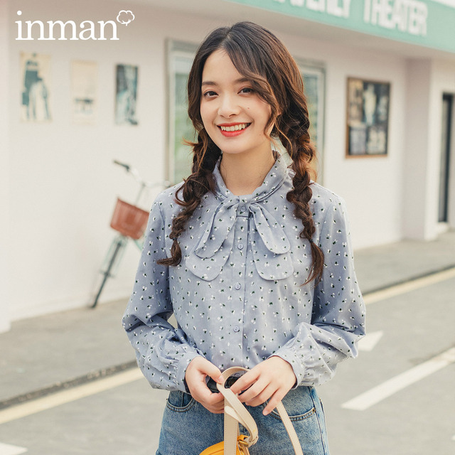 INMAN 2020 Spring New Arrival Literary Style Bow Tie Neck Single Breasted Loose Style Tighten Up Sleeve Lady Women Blouse