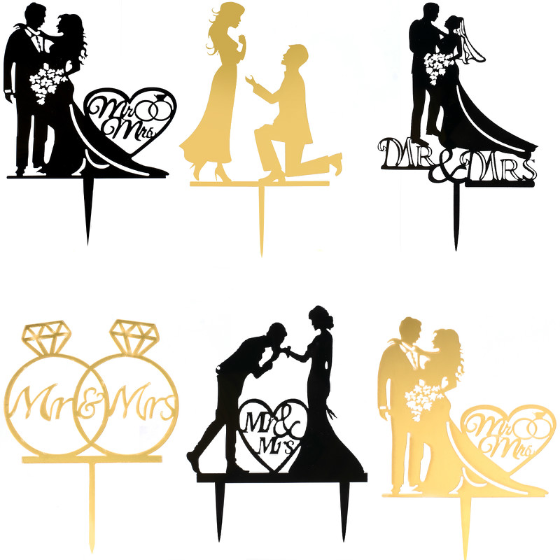 Cakelove 1Pcs Wedding Cake Topper Bride Groom Mr Mrs Acrylic Black Gold Cake Toppers Wedding Decoration Mariage Party Supplies