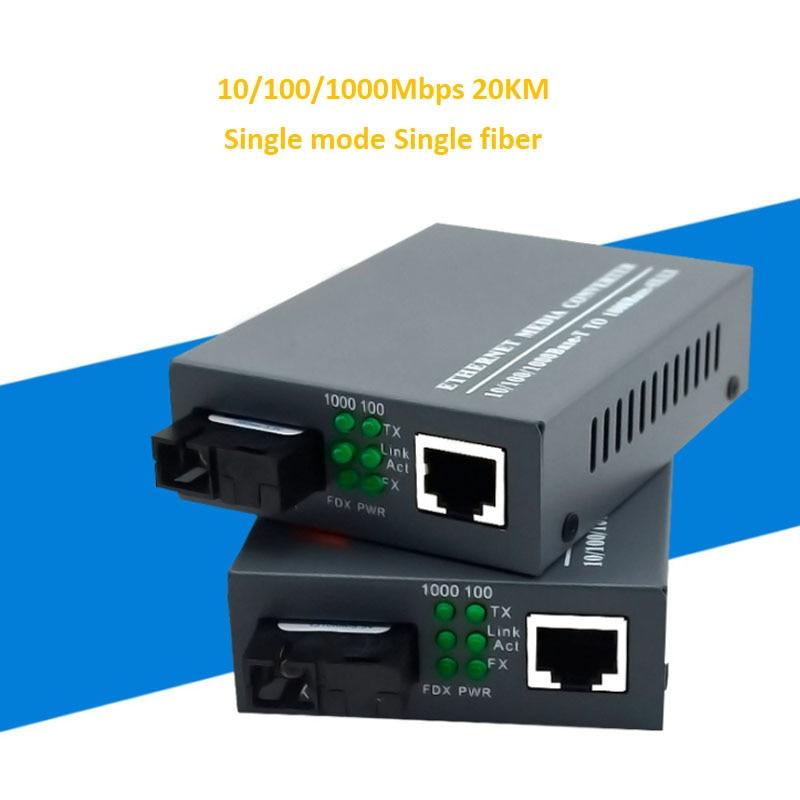 1 Pair SC port RJ45 port A and B Singlemode Optical Fiber Media Converter 10/100/1000M Single Fiber Transceiver