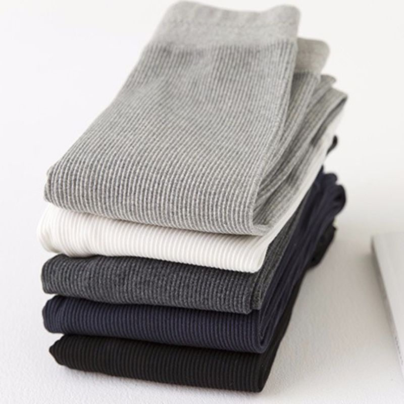 Womens Autumn Warm Ankle Length Leggings Cotton Ribbed Knit Striped Elastic Plain Solid Color Basic Bottom Skinny Pants