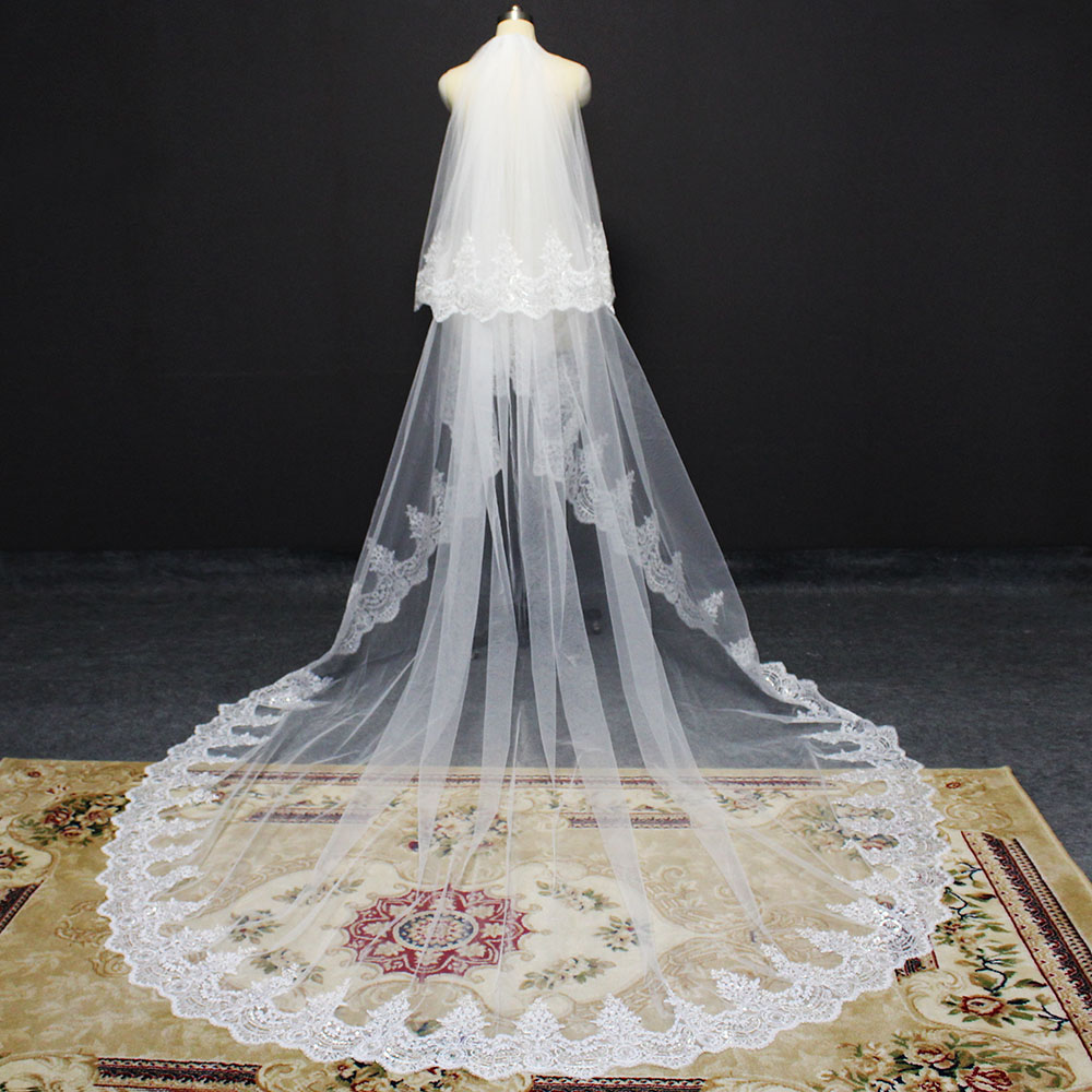 Sparkling Sequins Lace Long Wedding Veil 2 Layers White Ivory 3 Meters Bridal Veil with Comb 2 T Veil Wedding Accessories 2020