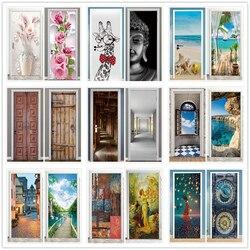 Paisagem porta adesivos 3d removível vinilos para puertas adesivo papel de parede murais arte para portas bibliotheque moderna decoração da sua casa