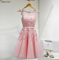 2019 Hot Sell Elegant Knee Length Women Girls Dresses Appliques Beads Formal Party Dresses Pink Red Light Blue