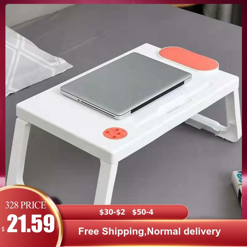 Folding Plastic Laptop Bed Desk Student Dormitory Multi-function Lazy Study Writing Small Table Organizer For Kids Home Bedroom