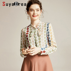 Women Silk Blouse 100% REAL SILK CREPE Dots Printed Blouses for Women Bow Collar Blouse Shirt 2019 Office Lady Blouse