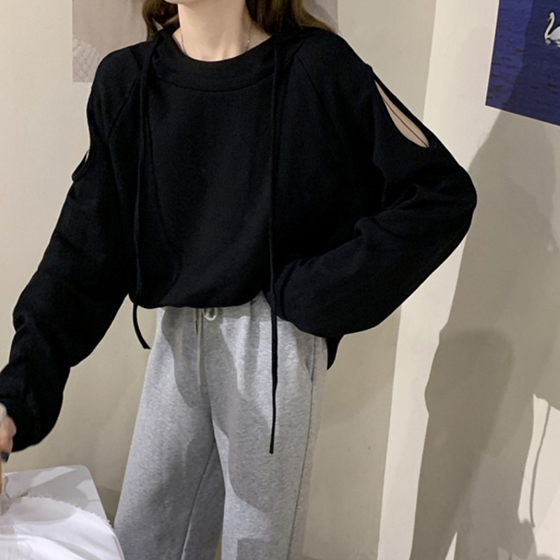 Women Off-the-shoulder Hooded Sweater Long Sleeve  Autumn Harajuku Loose Solid Color Korean Kpop  Hip Hop Tracksuit
