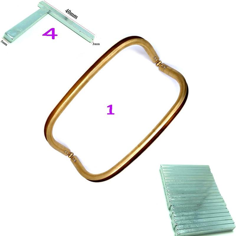 1Pc Metal Purse Frame Women Handle Clutch Bag Accessories DIY HandBag Frame With 4 Hidden Magnetic