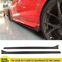 Carbon Fiber Side Skirts Bumper Kits for audi A3 S LINE S3 Sportback /S3 S line Sedan 2013 2014 2015 2016 side blade Door Aprons